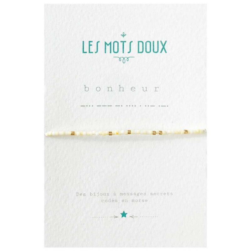 """Bracelet """"Collection Pastel"""" Code Morse: Bonheur"""