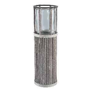 Lanterne Ronde sur Pied en Bois Gris 17x17xH55cm