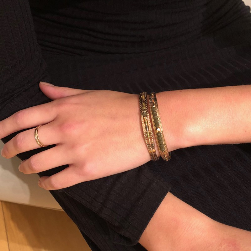 """Bracelet Jonc Odette """"By Garance"""" Doré & Lien Perlé Cristaux Kaki Doré"""