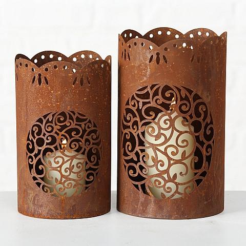 """Lanterne """"Cleo"""" Métal Rouillé H.25 cm"""