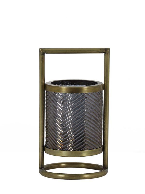Photophore Ø12x24 cm THILO verre gris luster+antique bronze