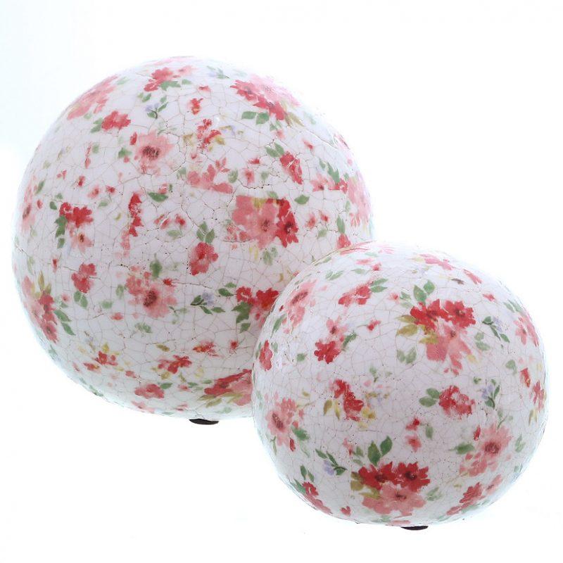 Boule en Terracotta Finition Craquelée Fleurs Rose/Rouge D.11cm