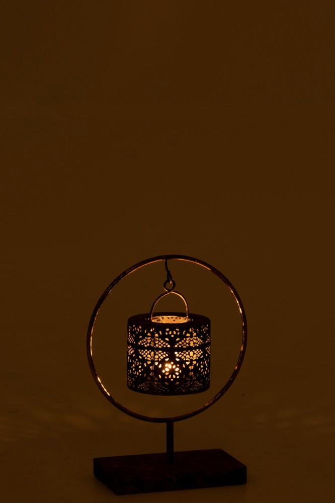 Photophore sur Pied dans Cercle en Métal Vieilli 25x12x34cm