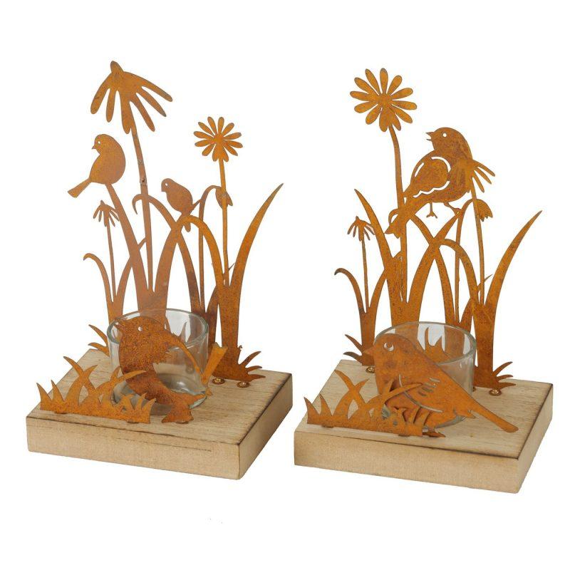 Bougeoir en Métal Rouillé et Bois 2 Modèles au Choix 9xH.20cm